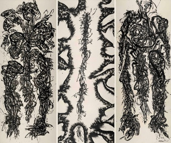 Huang Zhiyang, Zoon-Beijing Bio No. 1001, 2010, Ink on silk, 140 x 360 cm x 3P.