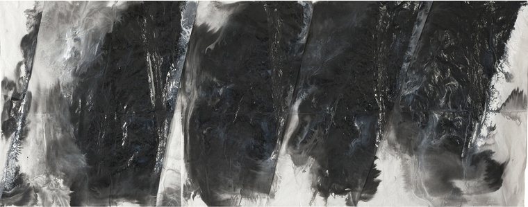 Zheng Chongbin, Untitled, 2015, Ink and acrylic on xuan paper, 96 x 243 cm